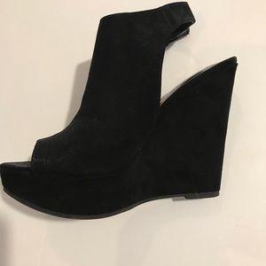Black platform Wedges open toe suede buckles 6